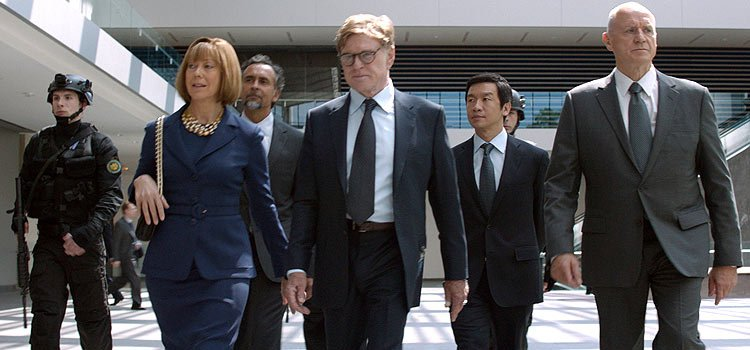 Jenny Agutter (in blue) portraying World Security Council Member Hawley