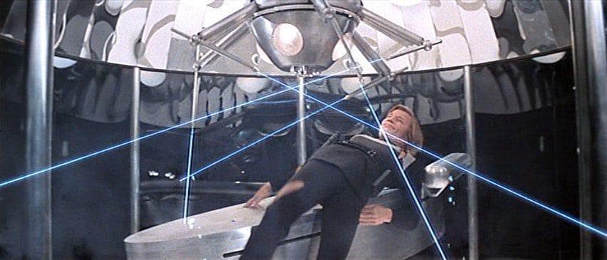 Michael York's character Logan 5 in a New You plastic surgery machine
