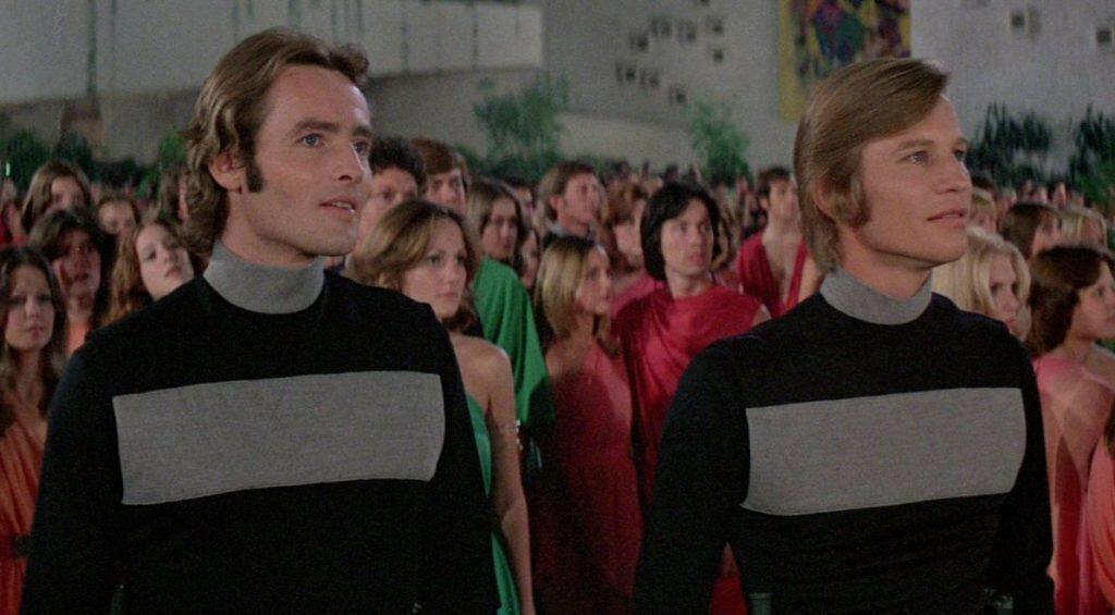 Actors Richard Jordon (left) and Michael York (right) in their sandmen costumes