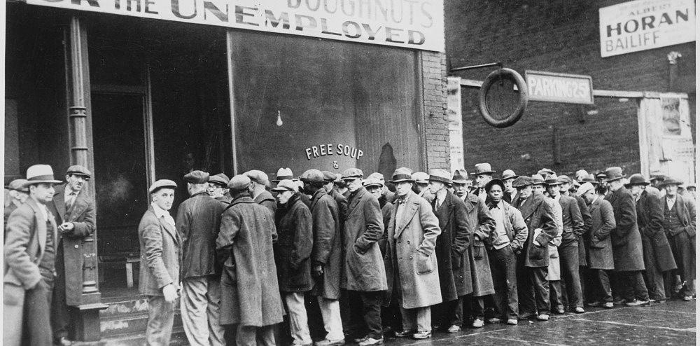 Line outside of a soup kitchen during the great depression