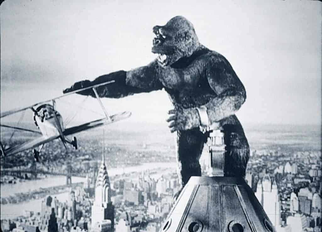 King Kong battling planes in the 1933 movie
